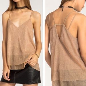 Tops - NWT Lined Rosegold Cutout Strappy Cami Tank Top