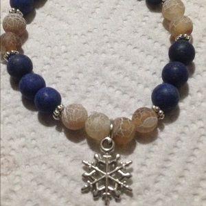 PeaceFrog Jewelry - Lapis Lazuli and Agate Snowflake Bracelet