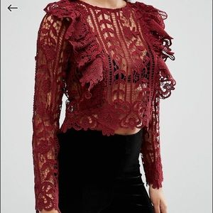 Premium lace top with ruffle front in oxblood