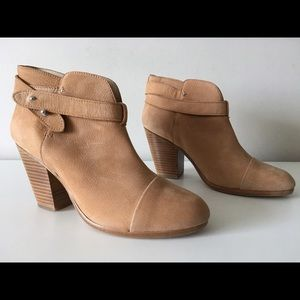 RAG & BONE HARROW CAMEL SUEDE LEATHER ANKLE BOOTS