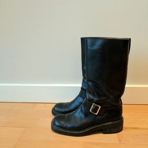 Gucci black leather moto boot size 7