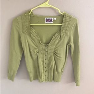 Anthro citron colored crop sweater