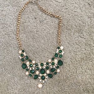 Emerald W White & Rhinestone Necklace