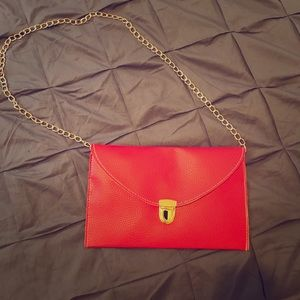 HP!! Red and gold envelope clutch
