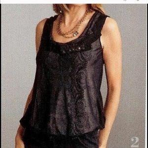 CAbi Tops - CAbi black lace bubble blouse