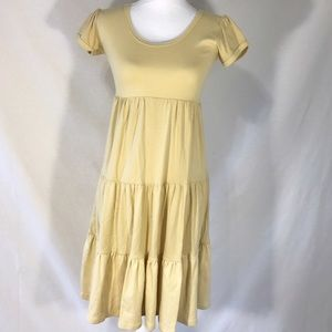 Casual Shabby Apple Tan Cotton Tiered Dress
