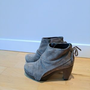 Grey suede covered clog booties