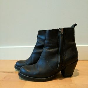 Acne black booties with external side zip