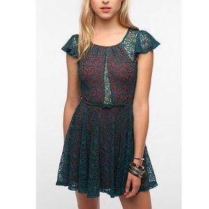 Medium {Pins & Needles} Lace Orange & Teal Dress
