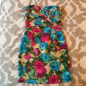 Sandro Bright Floral Strapless Mini dress - 1 (XS)