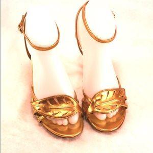 "Sergio Rossi Shoes - SERGIO ROSSI Metallic Gold ""Leaf"" Sandal Heels"