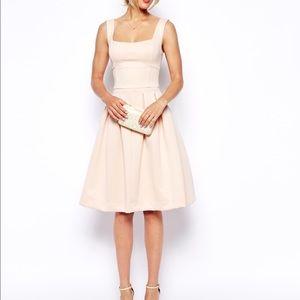 ASOS Blush Scuba Pleated Midi Dress 0 (UK 4)