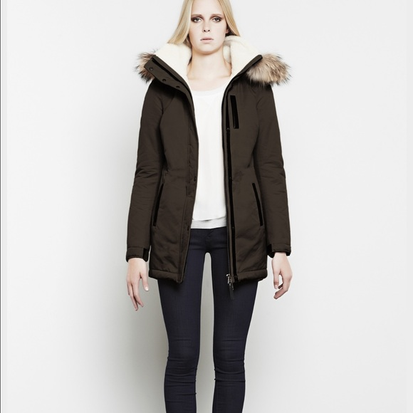 Mackage Jackets & Blazers - Mackage Freja Coat in Moss, Shearling, Fur Trim, S