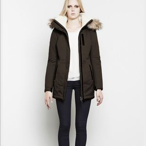 Mackage Freja Coat in Moss, Shearling, Fur Trim, S