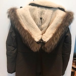 Mackage Jackets & Coats - Mackage Freja Coat in Moss, Shearling, Fur Trim, S