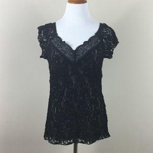 CAbi top L black lace short sleeve tan v neck
