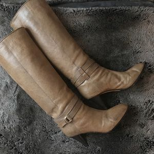 Loeffler Randall Emmy Belted Knee High Boots,Taupe