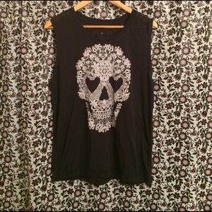 Fifth Sun Tops - Flowered Skull Muscle Shirt