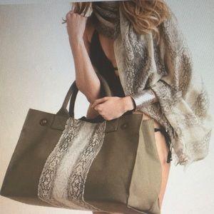 Ananda Design Handbags - CANVAS SNAKE PRINT LARGE  TOTE-ARMY GREEN