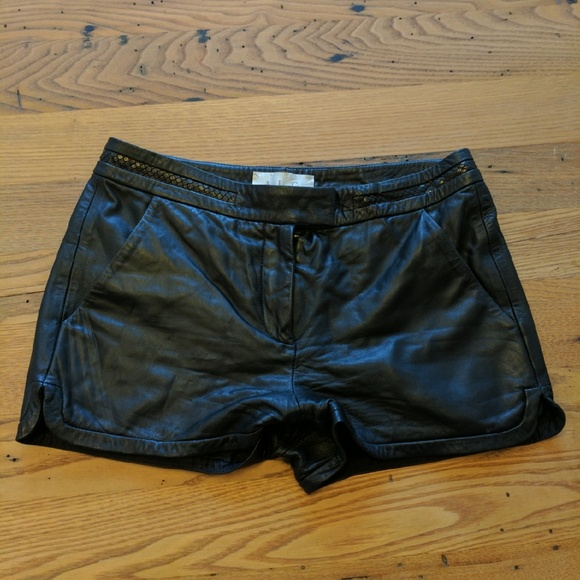 A.L.C. Pants - ALC black leather shirts with braided detail sz 6