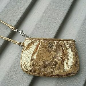 Coach Handbags - Coach gold sequins wristlet purse