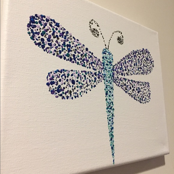 Art Sale Hand Painted Moonlight Dragonfly Wall Art