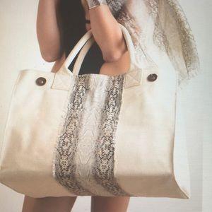 Ananda Design Handbags - CANVAS SNAKE LARGE TOTE