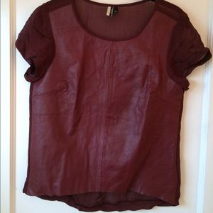 100% Leather Silk Back Topshop