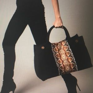 Ananda Design Handbags - CANVAS PYTHON PRINT LARGE TOTE-BLACK