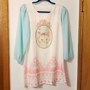 Dolls Kill Dresses & Skirts - Dolls Kill Kawaii Pastel Kitty Dress