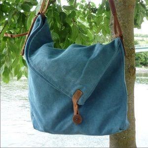 Handbags - 4 LEFT!! Blue Leather/Canvas Crossbody Bag
