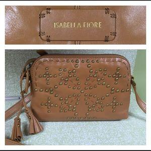 Isabella Fiore Handbags - Isabella Fiore Sophia Tan Crossbody Bag Gold Studs
