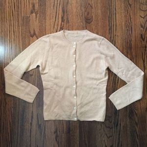 J Crew Tan Cashmere Cardigan Medium