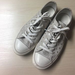 Converse Shoes - Neutral Suede Leather Polkadot Converse - 9