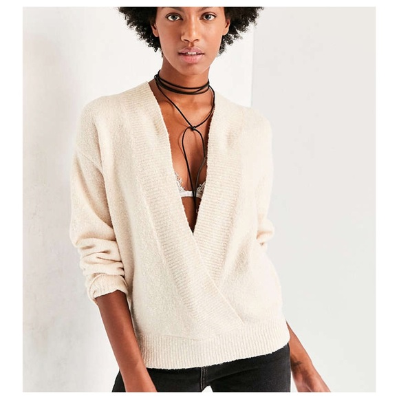Urban Outfitters cozy surplice sweater in cream