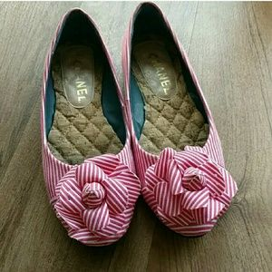 CHANEL Shoes - Chanel Camellia Pink & White Stripes Ballet Flat