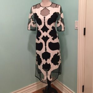 BCBG runway collection black and white dress