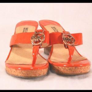 Michael Kors Shoes - MICHAEL KORS Tangerine Patent Style Cork Wedges