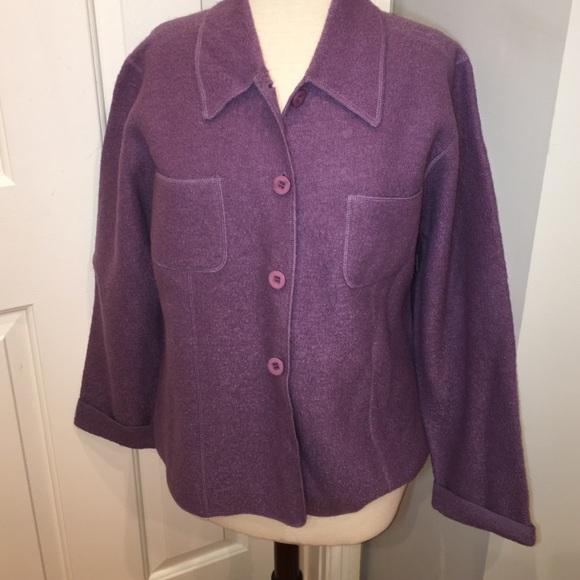 Lisa International Jackets & Coats - Wool boucle purple jacket