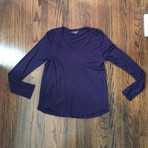 Vince eggplant shirt with laser cut edging size L