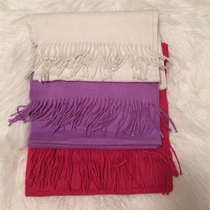 Accessories - Set of 3 Pink, Lavender and White scarves
