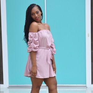 Off the shoulder blush dress