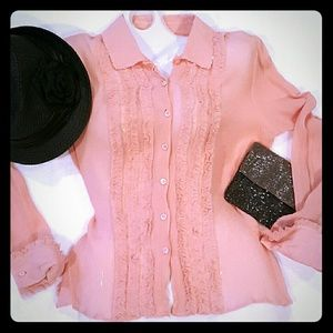 PINK SILK Beaded Blouse Shirt Sheer 12 M L Duke