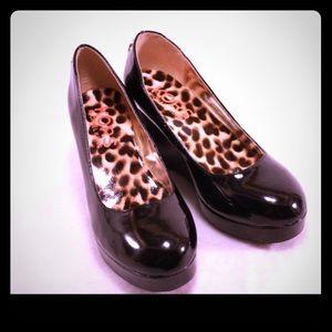 Michael Kors Shoes - Michael Kors Black Patent Platform Wedges