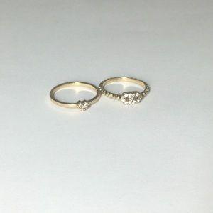 Jewelry - Rhinestone Heart Gold Stackable Midi Ring Set