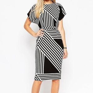 ASOS Black & White Striped Midi Dress 0 (U.K. 4)