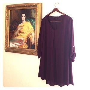 Lush Dresses & Skirts - Lush Swing Long Sleeved Dress Maroon Sz XL