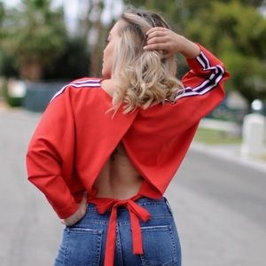Backless wrap top
