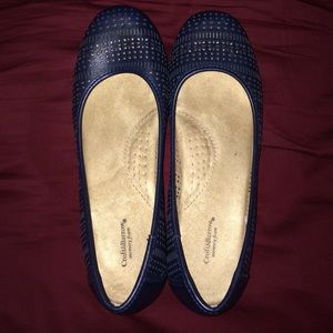 Navy Cutout Flats w/ Arch Support
