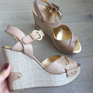 Audrey Brooke Shoes - Audrey Brooke wedge sandals gold nude beige 7
